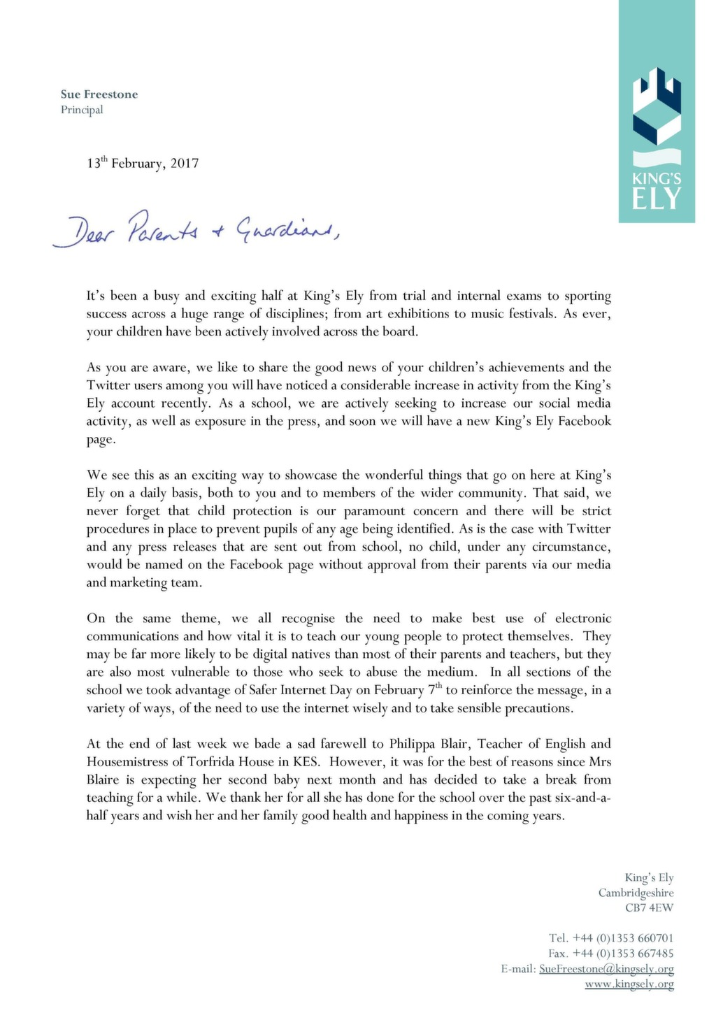 Principal's February 2017 Letter to Parents and Guardians