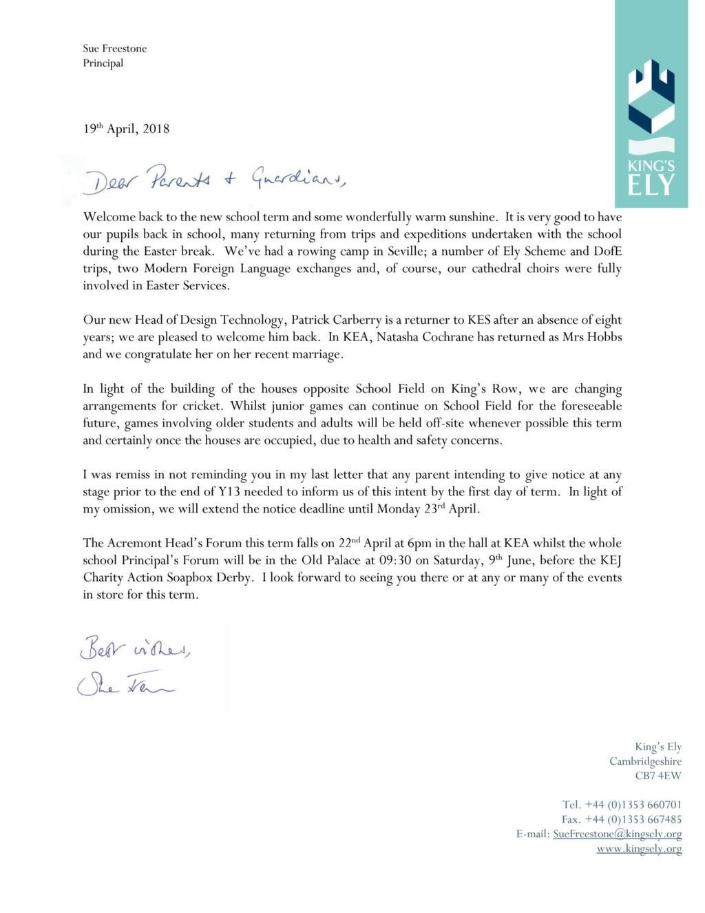 Principal's April 2018 Letter to Parents and Guardians